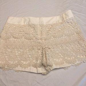 Ann Taylor LOFT Ivory Lace Crochet Ruffle Shorts